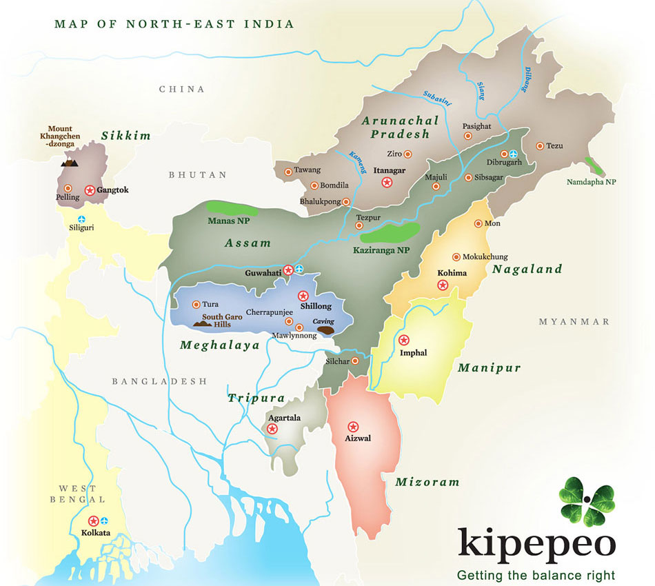 North East India Map