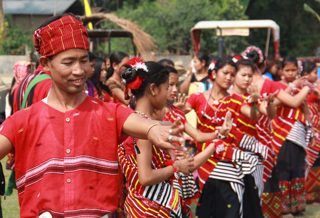 Young Mising dancers during Ali Aye Ligang