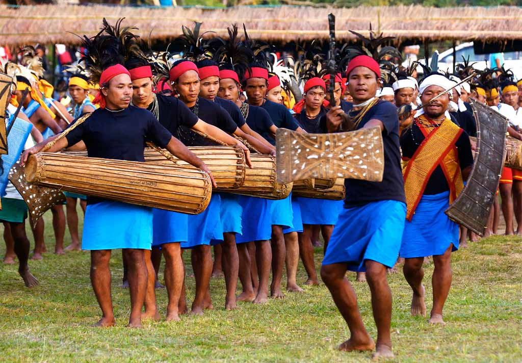 Garo drummers performing during Wangala