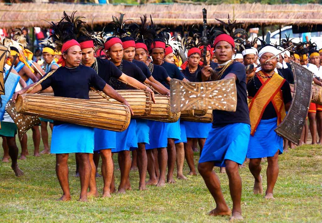 Garo drummers performing during Wangala