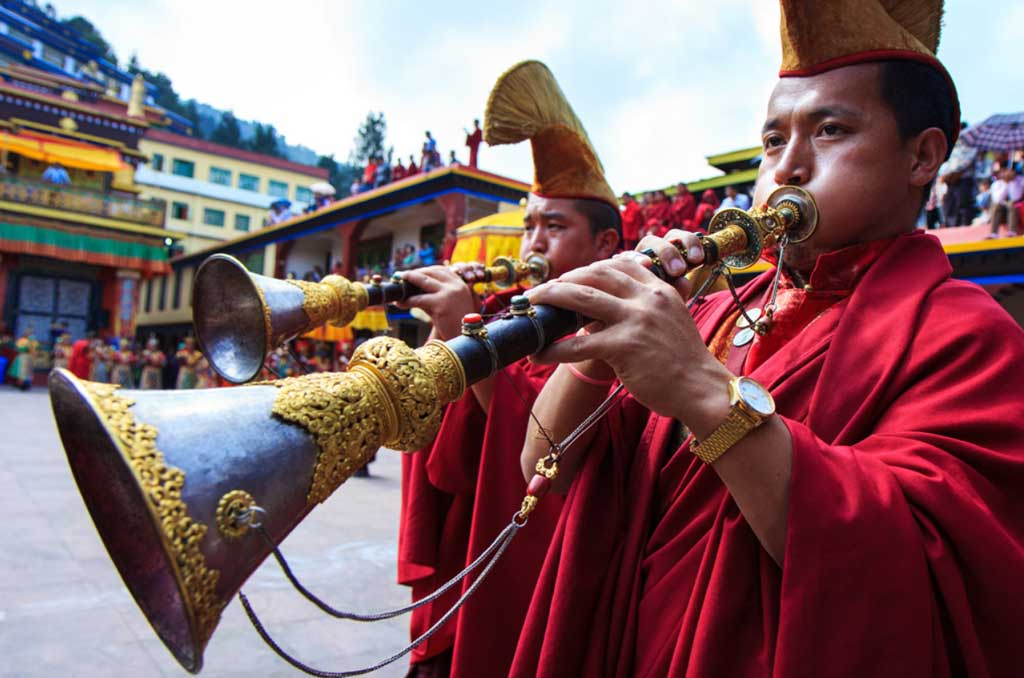 Monks at Losar festival of Sikkim